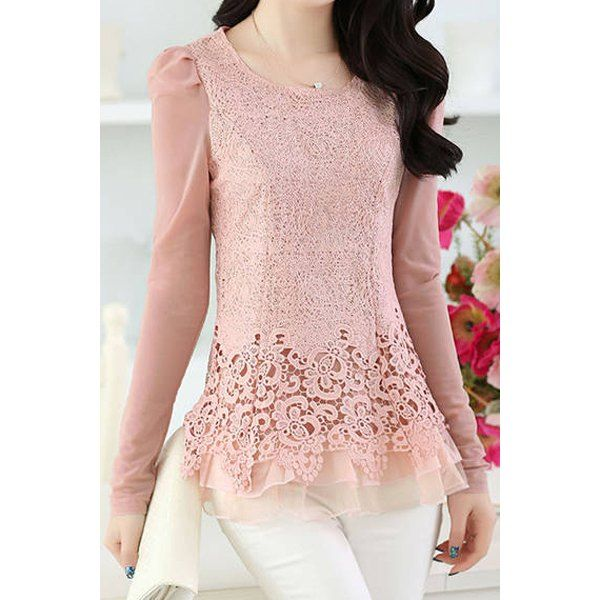 Stylish Scoop Neck Long Sleeve Spliced Solid Color Women's Blouse