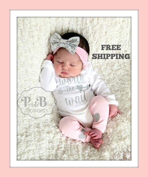 b8e620822 NEWBORN GIRL take home outfit, white or pink baby beanie available ...
