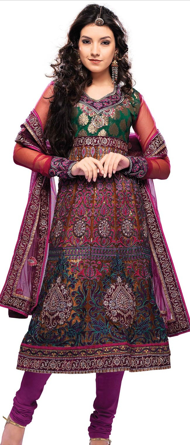 Multicolour Net #Anarkali Churidar #Kameez With #Dupatta @ $113.46 | Shop @ http://www.utsavfashion.com/store/sarees-large.aspx?icode=ksa4