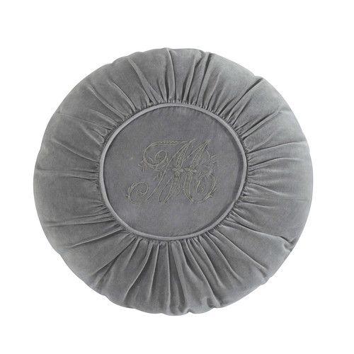 Cuscino rotondo grigio in velluto D 45 cm ALEXANDRINE