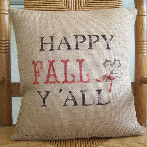 Happy fall y' all pillow cover Fall pillow by KelleysCollections