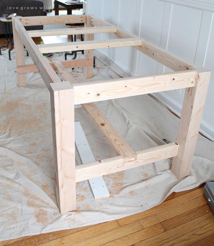 DIY Farmhouse Table DIY Farmhouse Table – This lar…