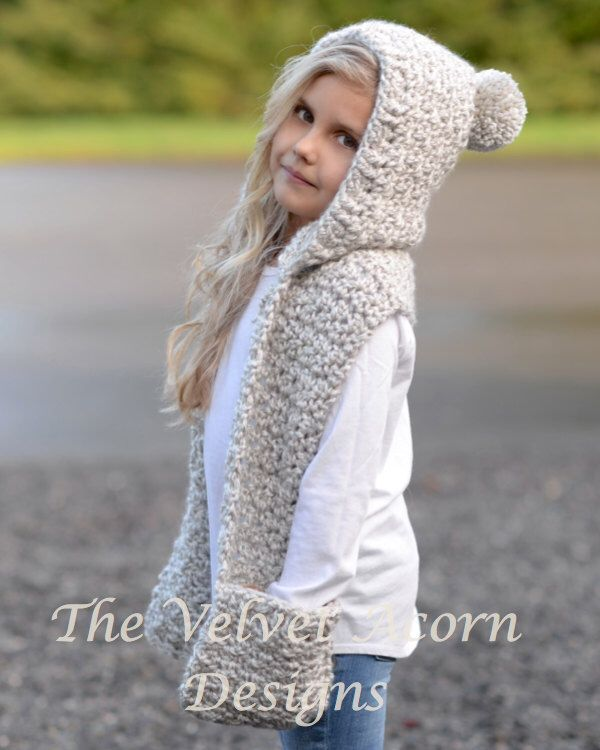 Crochet PATTERN-The Summit Hooded Scarf  (12/18 month,Toddler, Child, Teen, Adult sizes) by Thevelvetacorn on Etsy https://www.etsy.com/listing/262753009/crochet-pattern-the-summit-hooded-scarf