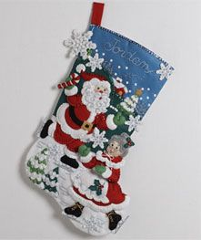 Bucilla ® Seasonal - Felt - Stocking Kits - The Skating Clauses