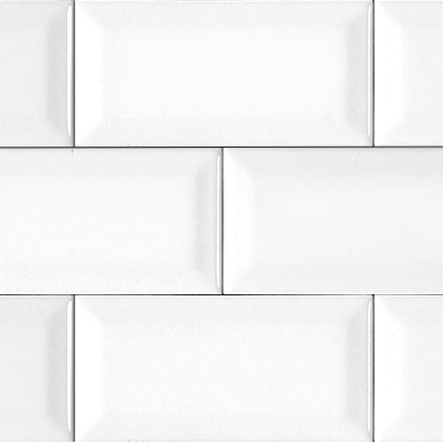 White Bevelled Matte Subway Tile I Beveled Edge Adds