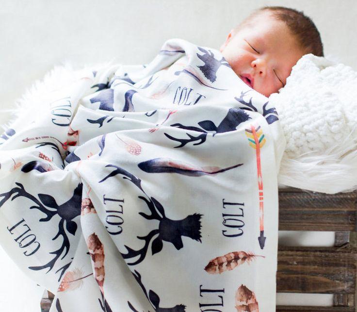 Personalized Baby Receiving Blanket Deer and Antlers Swaddle Blanket
