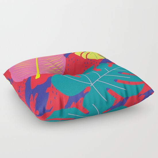 Pahlavani Creative beautiful prints, #pillow #pattern #tropical, #leafs, #pahlavanicreative #dots #red #pink #yellow