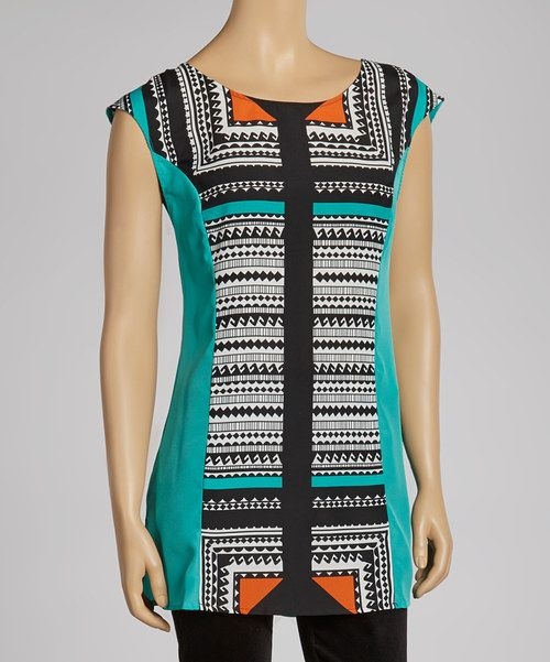 Turquoise and tantalizing, this top is nothing short of energizing. Slight cap sleeves and a decorative front pattern make this piece a surefire fashionable win.Measurements (size M): 31'' long from high point of shoulder to hem100% polyesterMachine wash; hang dryImported