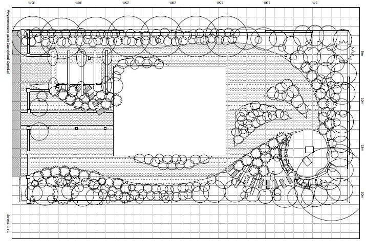 Projekt ogrodu na malej działce, widok z góry. Więcej na: http://www.zaprojektuj-ogrod.pl/pl/OrderGardenProject/Index