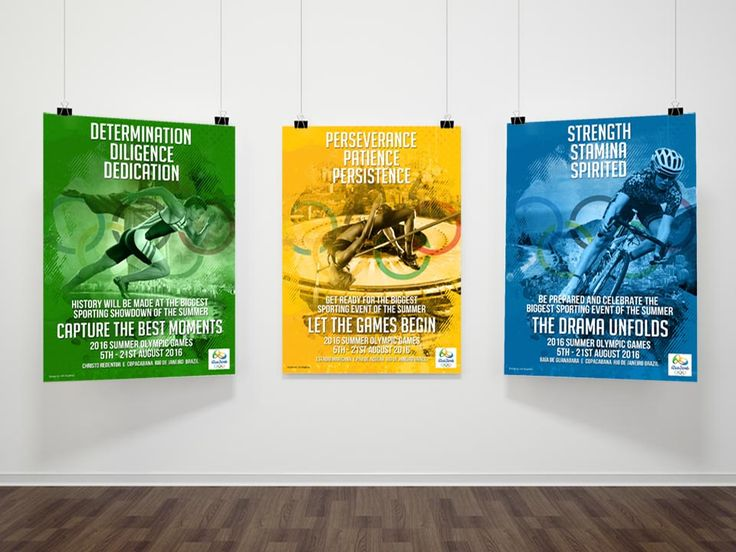 RIO 2016 - Full poster designs hanging on a large display promoting the live sporting events for The 2016 Summer Olympics in Rio de Janeiro, Brazil. Design is based out on the summer theme with the different landmarks and athletes with different headers.