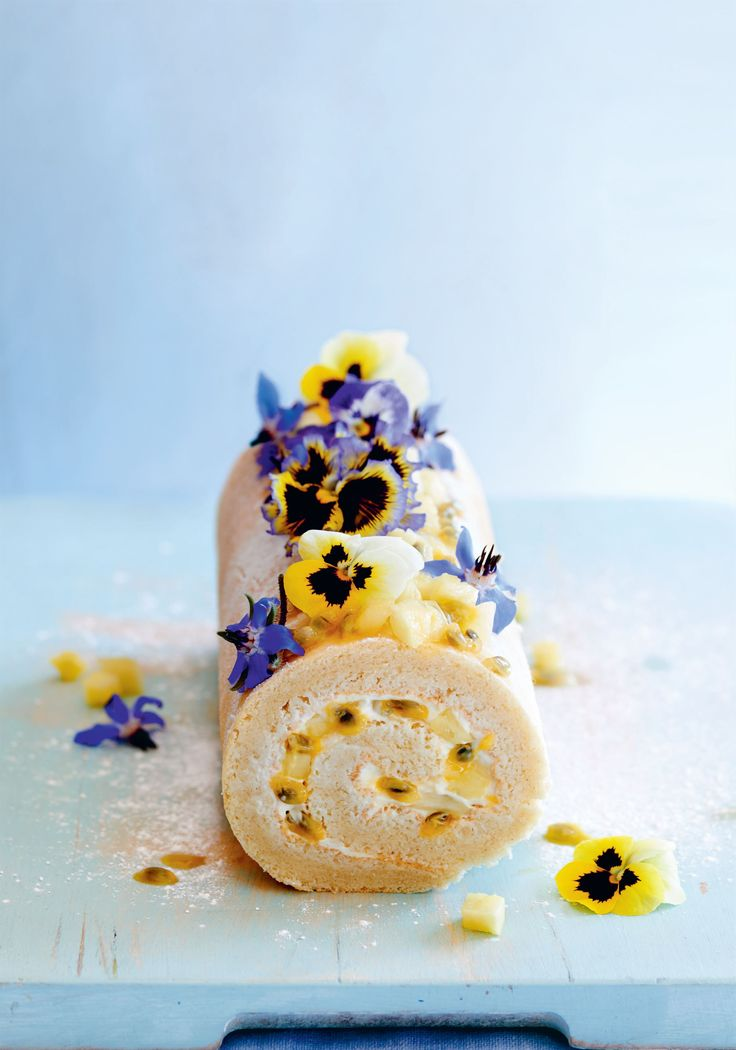 Pineapple and passion fruit cake roll