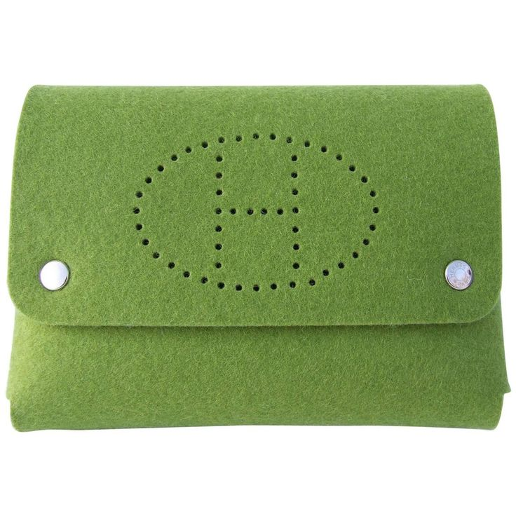 Hermes Felt Clutch Bag Purse Playing Cards Case Anise Green in Box