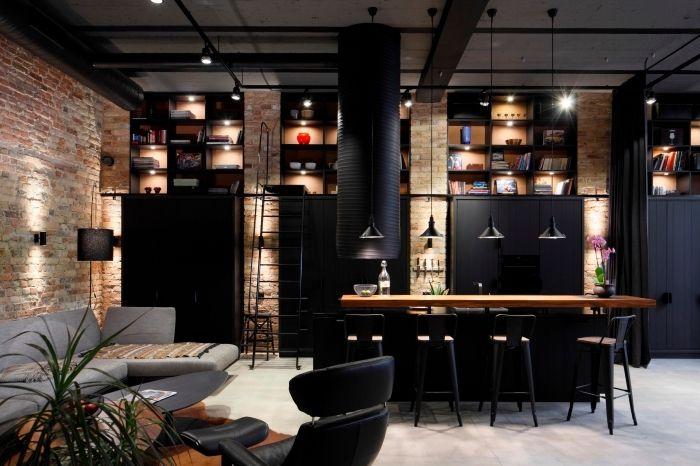 plantes-vertes-fauteuil-cuir-noir-revetement-murs-briques-rouges-cuisines-équipées-éclairage-industriel-tuyaux-apparents-canapé-d-angle-gris