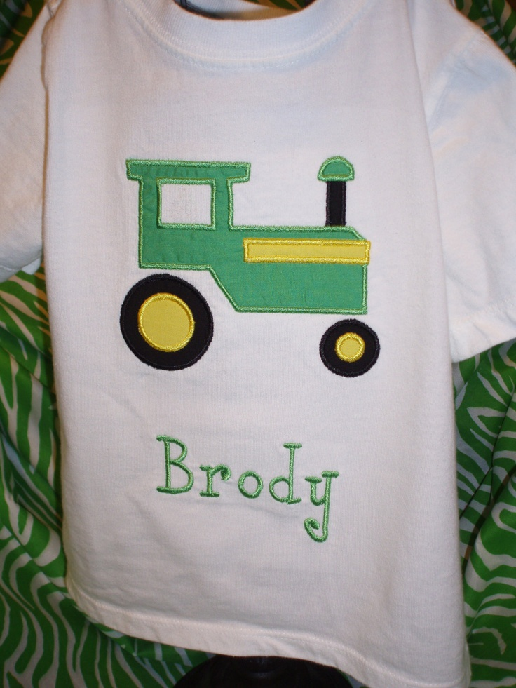 Tractor applique shirt down on the farm pinterest for Applique shirts for sale