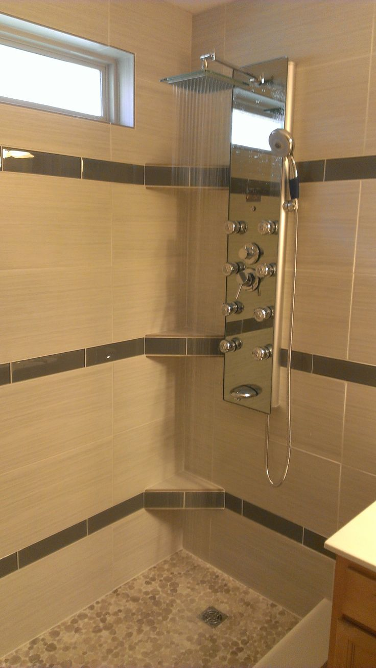 X Glass Inlays In X Porcelain Shower With Custom Kerdi Board Corner  Shelves. All Of Our Wet Area Installations Are Installed Over A Schluter  Kerdi Assembly.