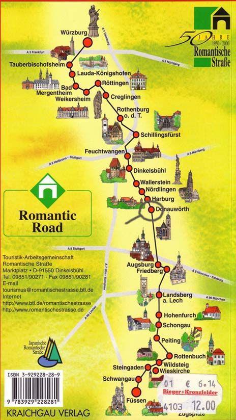 """Esta é a """"Rota Romantica"""" da Baviera, de Würzburg a  Füssen. Donauwörth está no centro, vejam o destaque."""