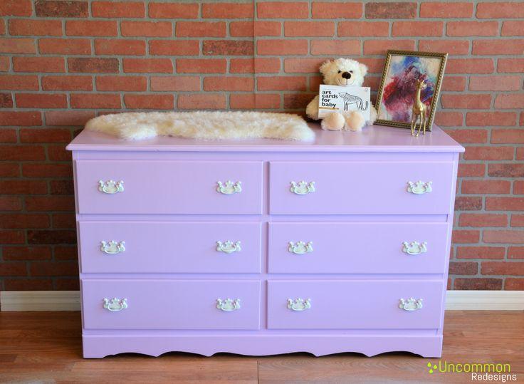 Lavender vintage dresser for nursery! This purple dresser is super cute!