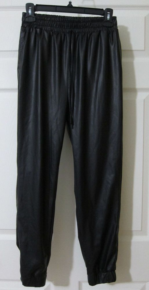 NEW LOOK Jogging Pants M Black Faux Leather Matte Drawstring Polyurethane #NewLook #Joggers