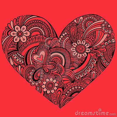 Delicate red henna paisley heart vector by blue67 for Red henna tattoo