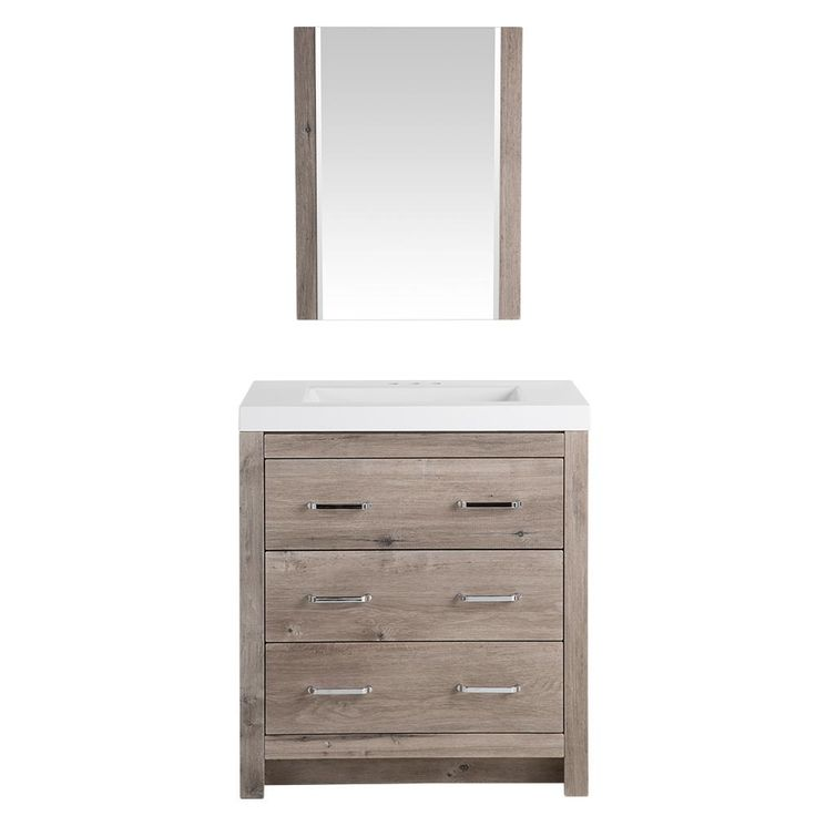 W Vanity In White Washed Oak With Cultured Marble Vanity Top In White With  White Basin And   The Home Depot