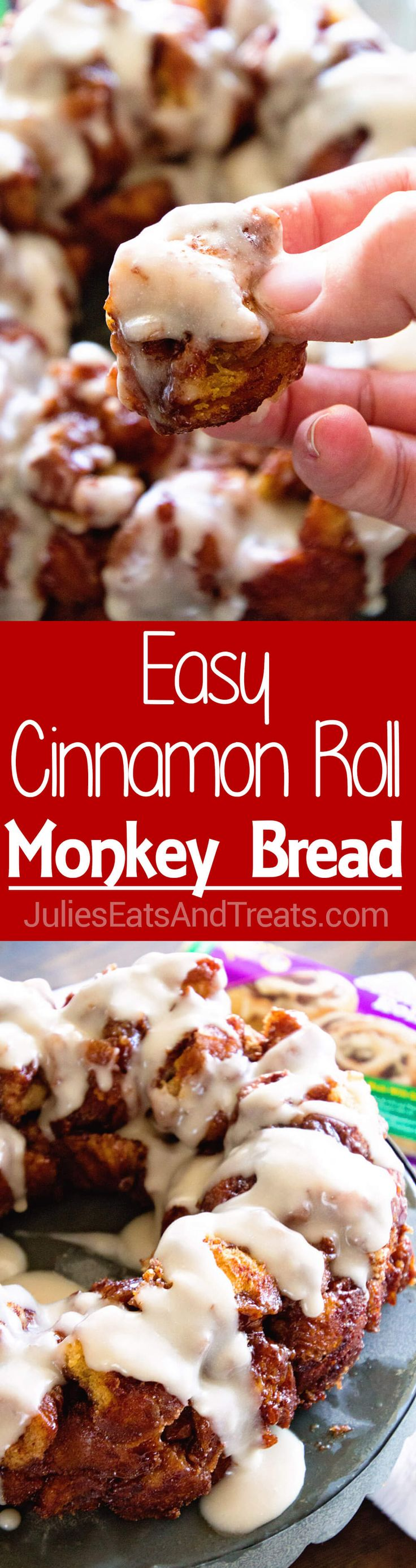 Easy Cinnamon Roll Monkey Bread ~ Quick and Easy Monkey Bread Made with Cinnamon Rolls and Icing! Perfect Easy Breakfast Treat! via @julieseats