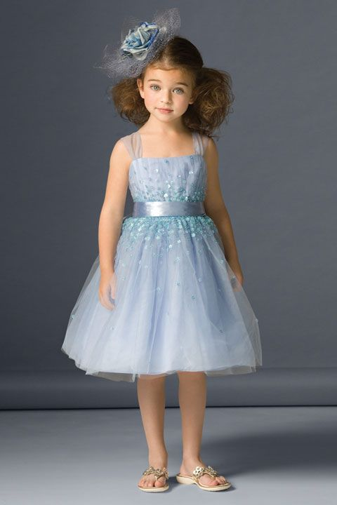Straps empire waist with ruffle tulle dress for flower girl