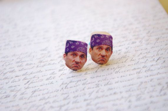 Michael Scott The Office Stud Post Earrings TV Show Prison Mike Steve Carell Jewellry Polymer clay charm miniature