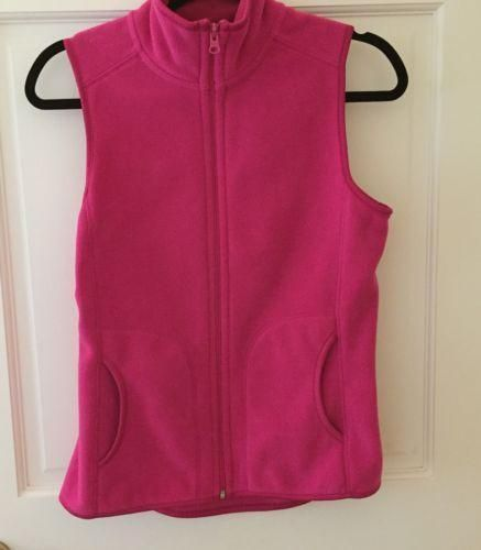 Old Navy Vest Bright Pink Fleece Womens XS Polyester Solid Teen Jacket #OldNavy