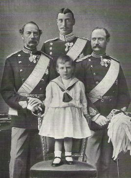Four generations of Danish kings: King Christian IX, Crown Prince Frederick (VIII), Prince Christian (X) and the little Prince Frederick (IX), who was born on this day in 1899. How are you related to Danish royalty?