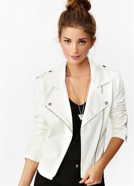 Белая кожаная куртка для мужчины