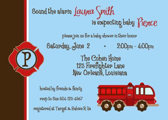 Firefighter  Baby Shower Invitation by lovebandpdesigns on Etsy, $15.00