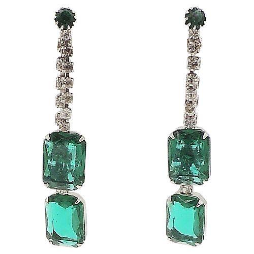 1960s Faux Emerald Drop Earrings