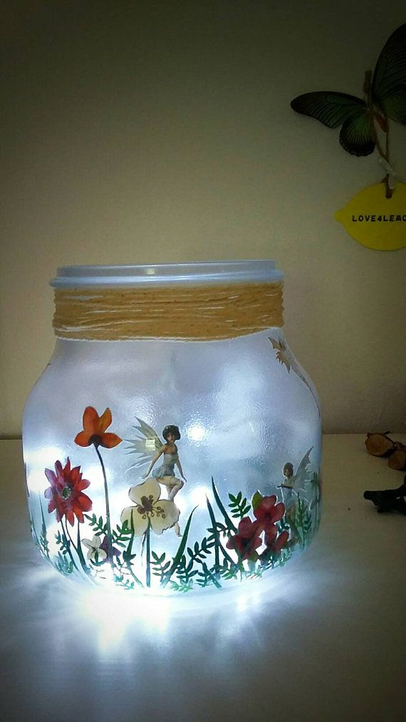 Fairy Jar Girls Night light Childs room Lighting by Love4Lemons