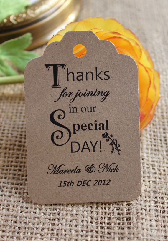 50 Personalized Printed Kraft Wedding Favor Tags By Paletteroyale