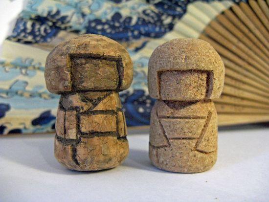 wine cork kokeshi   Cork Japanese Kokeshi Doll by Rvaya