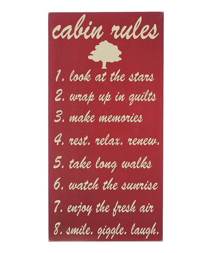 Barn Red 'Cabin Rules' Wall Art
