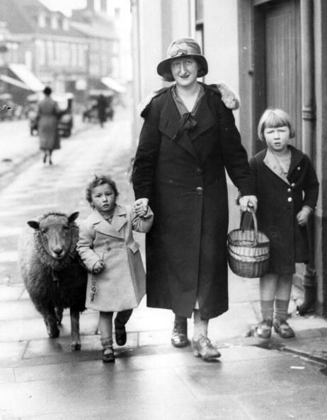 A mother, with her two children and a Sheep tag's along as she does her shopping.