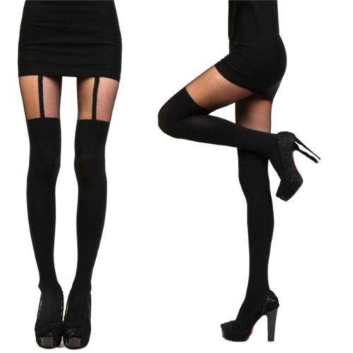 Fashion-Women-Girls-Temptation-Sheer-Mock-Suspender-Tights-Pantyhose-Stockings