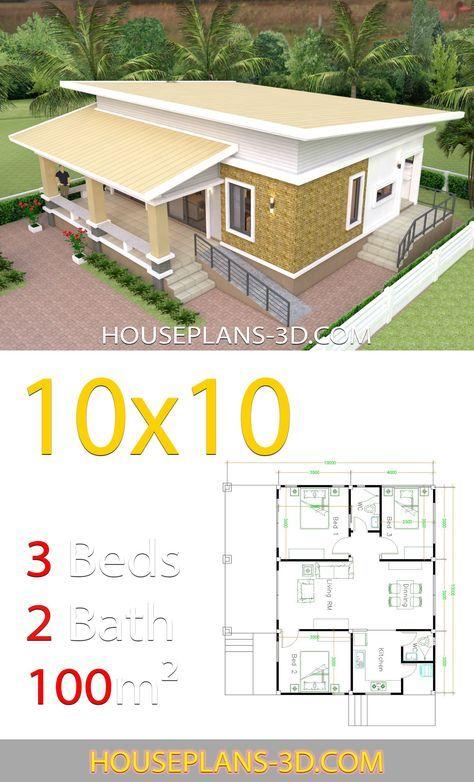 10x10 Bedroom Arrangement: House Design 10x10 With 3 Bedrooms Full Interior