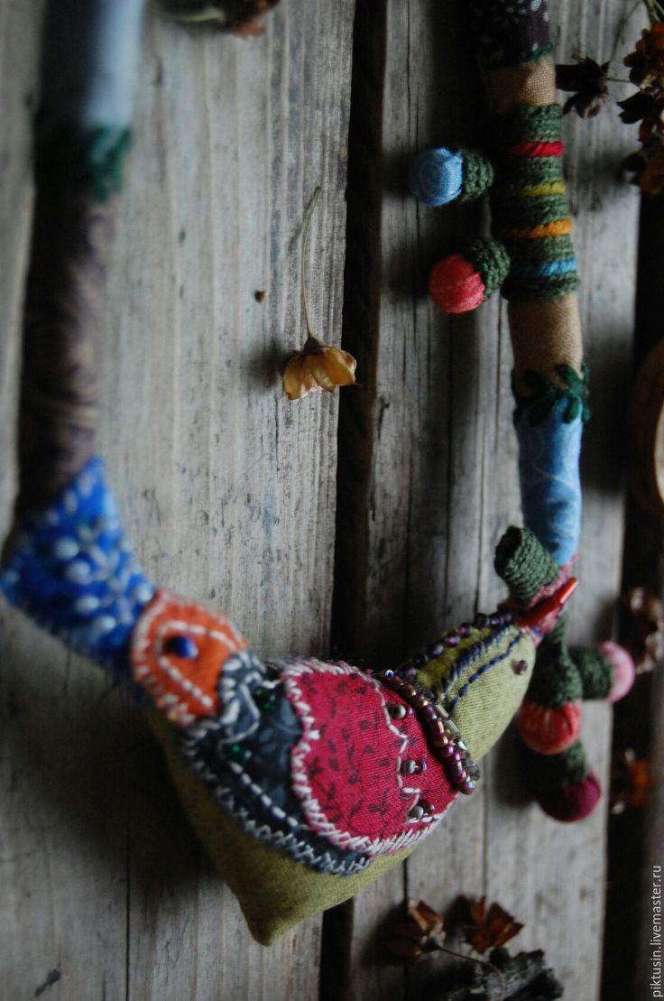 Купить В осеннем небе текстильное колье - комбинированный, украшение на шею, колье, бусы, из ткани