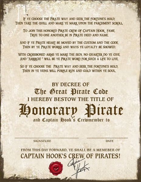 Love this for the kids party Pirate Certificate Cpt Hook - 2400x3106px free
