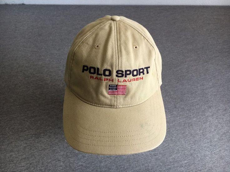 POLO SPORTS RALPH LAUREN HAT 90s VTG USA Flag StrapBack Brown RL Rare #PoloRalphLauren