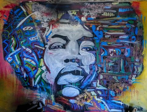 """""""Jimi"""" Painting su parete"""