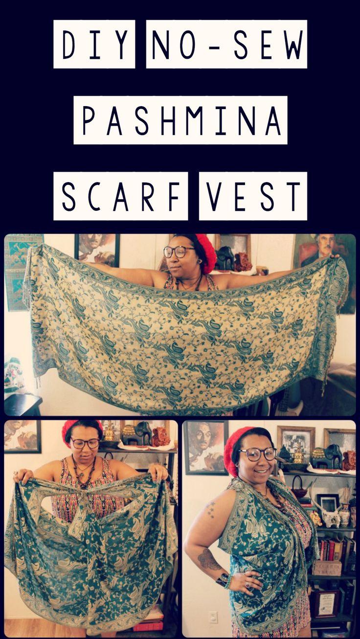 Easy DIY no-sew pashmina scarf vest {plus sized boho fashion}