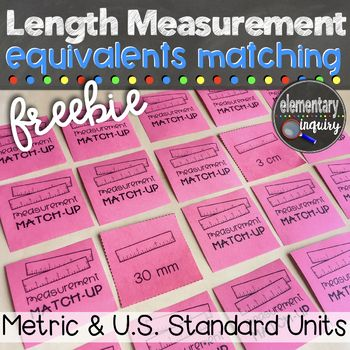 Practice measurement conversions for length within the metric or U.S. standard systems with this memory matching card game. Perfect activity for a math center or partner work!This download is one pdf file that includes:Game directions poster20 metric length equivalent cards (using millimeters, centimeters, meters, and kilometers)20 U.S.