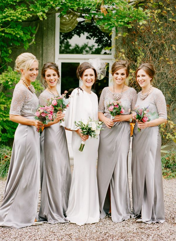 Amazing silver bridesmaid gowns / Katie Stoops Photography