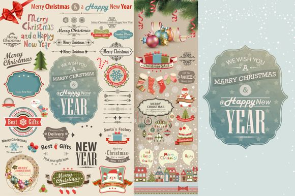 Check out Christmas vintage scrapbook vector by Code Shop on Creative Market