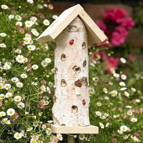 Boomstammetje voor lieveheersbeestjes en andere insecten om te nestelen en te overwinteren - insectenhuisje / ladybird en insect house