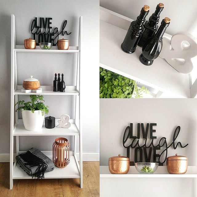 """✖ Monochrome & Copper. ✖ Live/Laugh/Love (Painted) - Spotlight. Copper candles, Throw, lantern (Hacked) marble cross & ladder shelf - Kmart. Black bottles (Hacked) and """"&"""" - The Rejectshop. White pot & fern - Masters"""