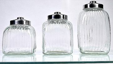 Square Glass Canisters (Pack of 3) - contemporary - Food Containers And Storage - Overstock.com